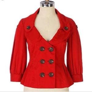 Anthro Floreat Red Peplum Jacket 4